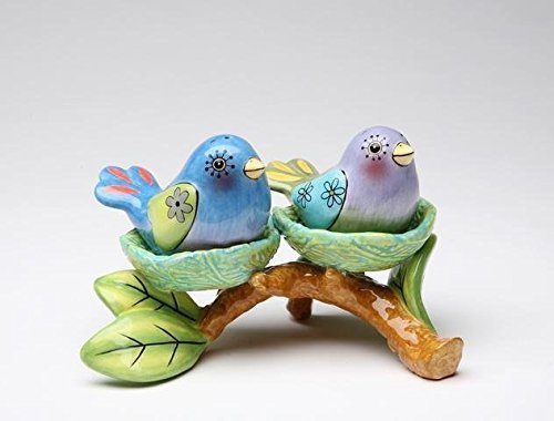 (Blue and Purple Bird Salt and Pepper Shaker on Tree Nest Base)