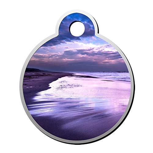 GPZHM Customized Purple Ocean Waves Pet ID Tag - Round Dog Tag & Cat Tags