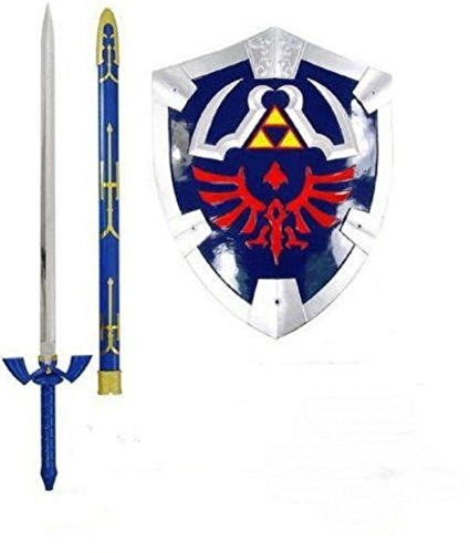 (THE LEGEND OF ZELDA REAL STEEL MASTER SWORD + SHIELD SET costume link hylian)
