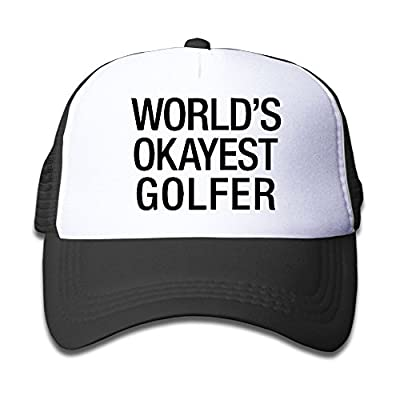 Ooiilpe Children's Grid Cap World's Okayest Golfer Kid's Cute Cool Fitted Mesh Cap with Adjustable Snapback Strap Hat