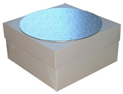 5x cajas para tarta de color blanco, redonda, color Plateado, para
