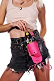 Neon Cowboys Drink Holster, Made of Pink Genuine Leather, Can and Bottle Holder, Attaches to Belt Line
