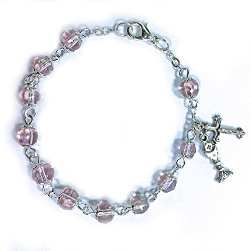 First Communion Rosary Beads (First Communion Pink Bead Rosary Bracelet with Chalice and Crucifix Charm, 6 Inch)