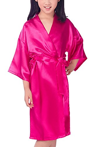 Mobarta Girls Kids' Satin Kimono Robe Fashion Bathrobe Silk Nightgown Getting Ready Robe for Wedding Spa Party Birthday Gift Rose Red for $<!--$11.99-->