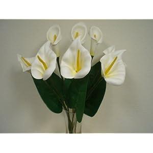 "Phoenix Silk Cream Foam Large Calla Lily Bush Artificial Flowers 20"" Bouquet 550CR 100"