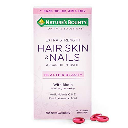 Extra Strength Hair Skin and Nails Vitamins by Nature's Bounty Optimal Solutions, with Biotin and Vitamin B, Supports…