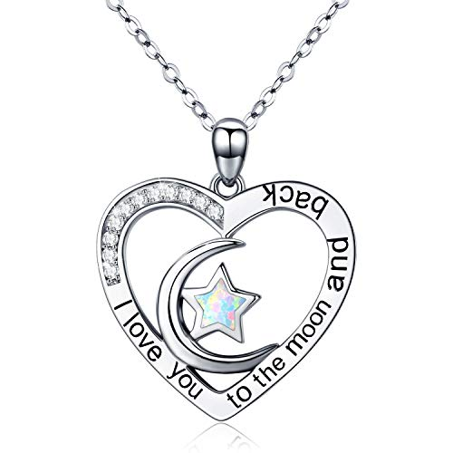 Cuoka I Love You to The Moon and Back Necklace Opal Moon and Star Heart Necklace Mother Gift Mother Necklace Girlfriend .Jewelry (A-Moon and Star - Moon Necklace Opal