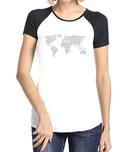 HuaXuKeJi World Map Funny Raglan Sleeves T-Shirt For Womens L - Map Mall Louisiana