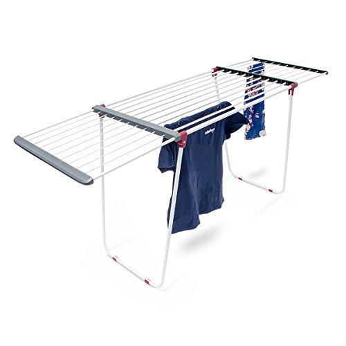 Relaxdays Trockenständer H x B x T: ca. 104 x 169 x 54,5 cm Wäscheständer ausziehbar aus Stahl mit einer Trockenlänge von circa 18 m für Wäsche, Kleidung, Textilien als Flügelwäscheständer, weiß