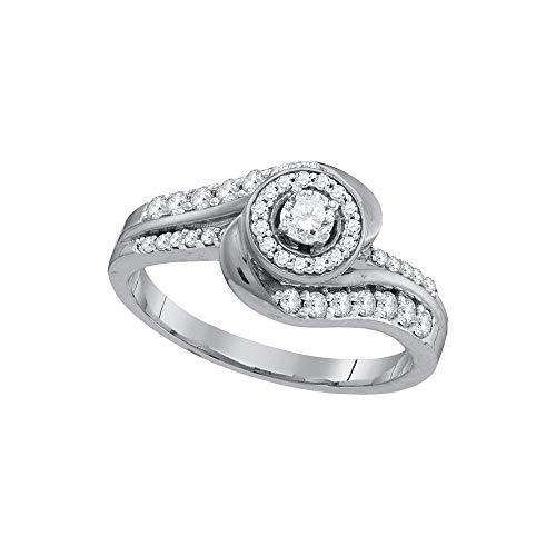 Diamond Solitaire Swirl Engagement Ring Wedding Anniversary 1/2ct 10k White Gold ()