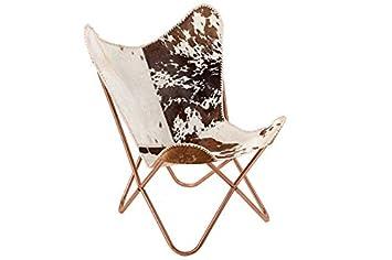 DuNord Design Sessel Stuhl Texas Echt Fell Braun Weiss Lounge Esszimmer  Butterfly Klappstuhl Loungesessel
