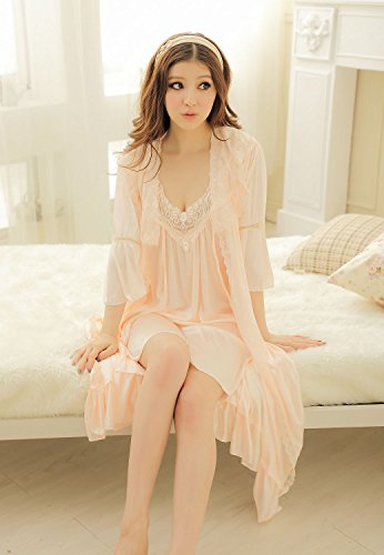 Camellia12 Fantastic Satin Robe Set Lace Chemise Full Slips with Victorian Robe by Camellia12 (Image #4)