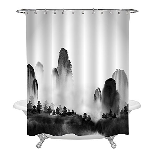MitoVilla Chinese Ink Painting Decor for Shower Decorations, Black White Landscape Shower Curtain with Wild Forest Trees and High Mountains in Fog, Nature Scene Bathroom Accessories, 72 W x 72 L