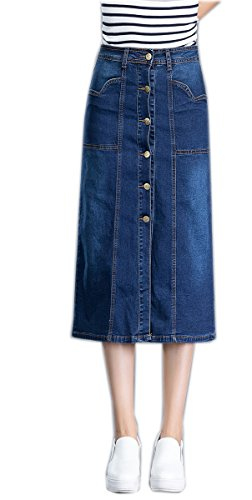 Women's Classic A-Line Pencil Stonewash Denim Skirt Maxi Stretch Front Button Down Jean Skirt (S-4XL) 30 (Button Down Jeans)
