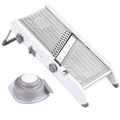 Karidge Mandoline Slicer - Adjustable Thickness Vegetable Mandolin, Fruit Slicer, French Fry Cutter, Food Waffle - Sharp Stainless Steel Blades