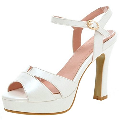 COOLCEPT Women Fashion Ankle Strap Sandals Peep Toe Block Heel Slingback Shoes White GAsfW2bZjG