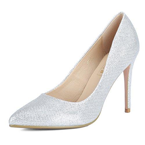 IDIFU Women's IN4 Classic Pointed Toe Stiletto High Heel Dress Pump (Silver Glitter, 9 B(M) (Classic High Heel Pumps)