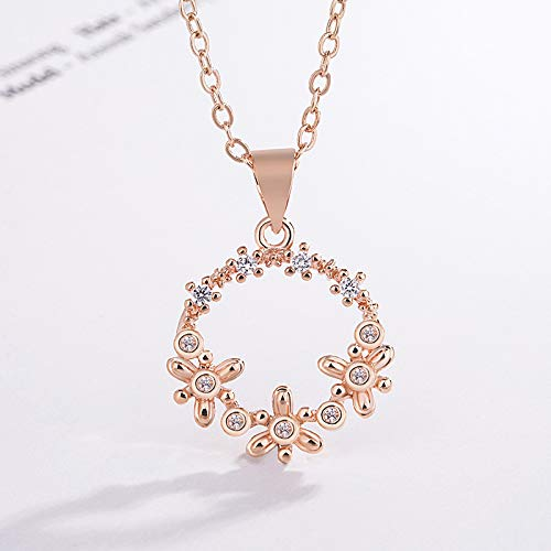 seven kilometers korean fashion sweet flowers diamond circle pendant necklace goddess with ultra-literary fairy jewelry (excluding only necklace)
