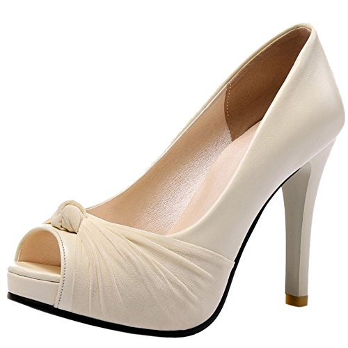 FANIMILA Mujer Moda Sin Cordones Tacon alto Delgado Sandalias Peep Toe Zapatos Beige