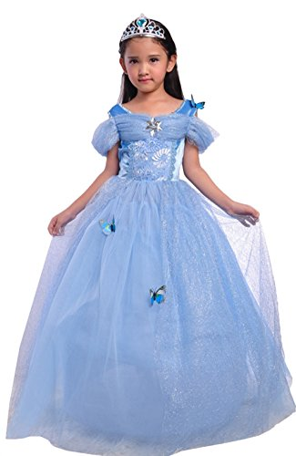 Cinderella Costumes Plus Size (sophiashopping New Girl's Blue Princess Cinderella Costume Dress Up Halloween Party Fancy Dresses 150)
