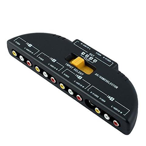 4-Way Audio Video AV RCA Switch Game Selector Box Splitter Black (Jaguar Av Cable)
