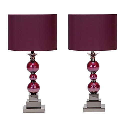 Urban Designs Loft Chic Metal & Glass Table Lamps (Set of 2) Purple Red by Urban Designs