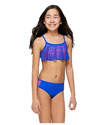 09287ba4c1aca Justice Girls Bathing Suit Bikini Cut-Out Flounce Swimsuit Blue/Pink 8-20