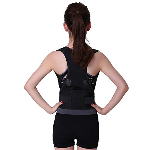 Back Brace Posture Corrector Magnetic Posture Corrector Shoulder Adjustable Support Brace for Women Men Improve Posture and Provides Lumbar Support (Black, L)