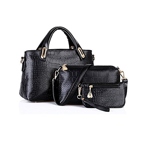 Handbag Leather Black Purse Wallet Clutches Tote Shoulder Bag VIASA Professional Hobo Bags Women Leather Satchel Ladies Leather Clutches 3PC shopping Bag Messenger For Work PnxvgwXqva