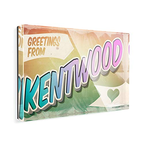 Acrylic Fridge Magnet Greetings from Kentwood, Vintage Postcard NEONBLOND