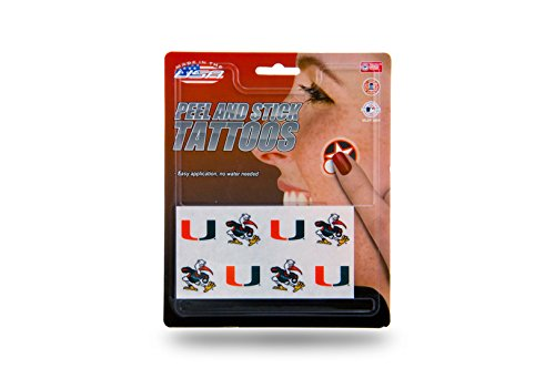 NCAA Miami Hurricanes Peel and Stick (Hurricanes Temporary Tattoos)