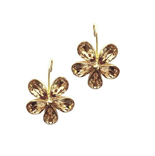 Moonstruck flower hook earrings (Champagne (Flower Earrings Costume Jewelry)