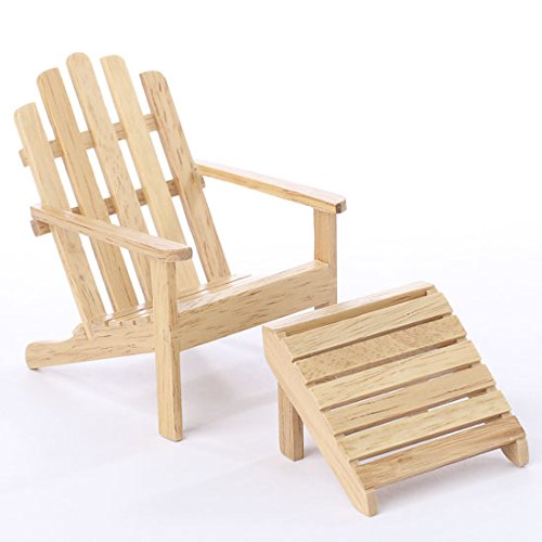 Oak Wood Adirondack Chair And Ottoman For Fairy Gardens, .