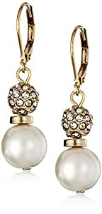 """Anne Klein """"I Wood IF I Could"""" Gold-Tone and Crystal and Pearl Drop Earrings"""
