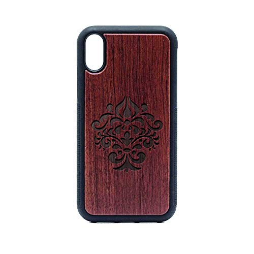 Damask Silhouette - iPhone XR CASE - Rosewood Premium Slim & Lightweight Traveler Wooden Protective Phone CASE - Unique, Stylish & ECO-Friendly - Designed for iPhone XR (Damask Silhouette)