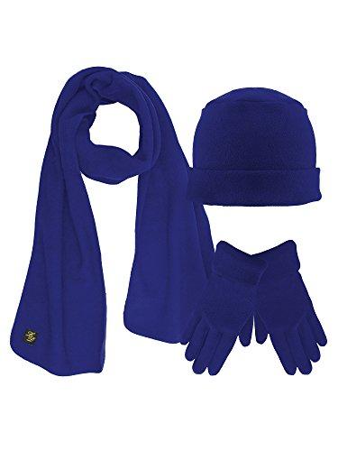 Royal Blue 3 Piece Fleece Hat Scarf & Glove Matching - Blue Fleece Scarf