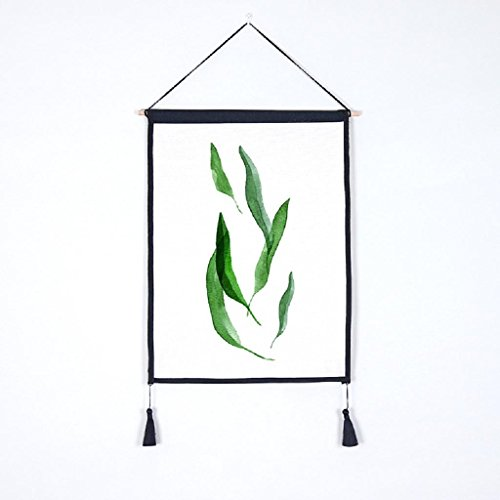 Green Leaf Scroll Wallpaper (Flymall Green Leaves Scroll Painting Nordic Wall Decorative Tapestry Background Hanging Cloth Ammeter Box Shelter Cotton Linen Art Painting for Home Office Decoration (5))