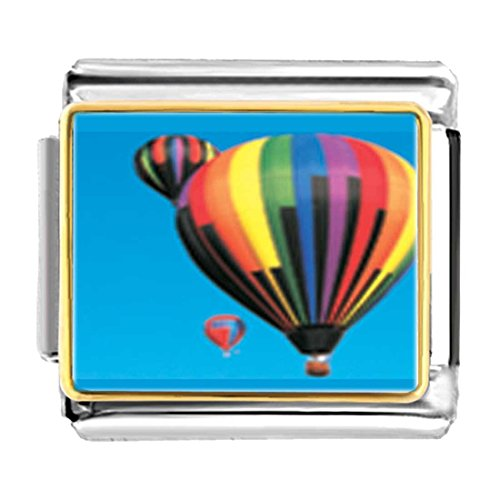 GiftJewelryShop Gold Plated Hot Air Balloons Bracelet Link Photo Italian Charm