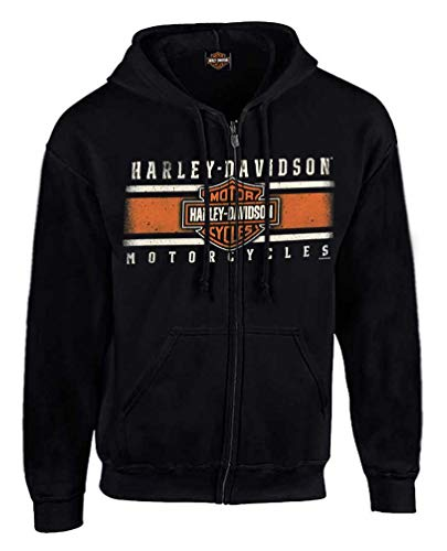 Harley-Davidson Men's Custom Iconic B&S Fleece Full-Zip Hoodie - Black (XL)