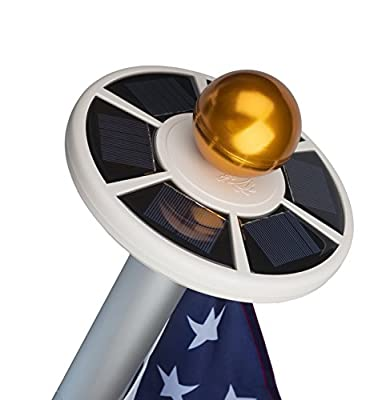 Sunnytech 2nd Generation Solar Flag Pole 20led Light , Brightest, Most Powerful, Longest Lasting & Most Flag Coverage with State-of-art Sunnytech Technology, LED Downlight Lights up Flag on Most 15 to 25Ft Flagpole for Night Lighting, Eco-friendly, Energy
