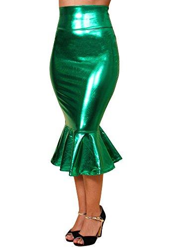 Sidecca Faux Leather Wet Look Metallic Mermaid Costume Maxi Skirt (Small, Mid Length Kelly)