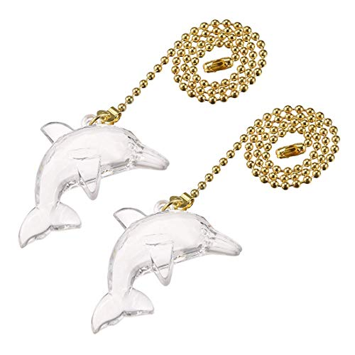 ZCHXD Acrylic Dolphin Pendant 12 inch Polished Brass Finish Pull Chain for Lighting Fans Pack of 2 ()
