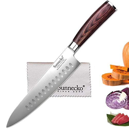 Sunnecko Hollow Edge Chef's Knife, 8.5 Inch Gyuto Knife, German High Carbon Steel with Pakkawood Handle, Nonstick All-Purpose Kitchen Knife Able for More Tasks