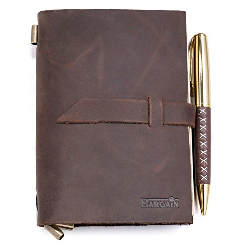 Handmade Leather Notebook Journal – Refillable Notepad for Men & Women to Write In for Daily Use & Travel – Ideal for Gifts, Fountain Pen Writing, Diary - Personal &, Notebooks & Journals by bargain