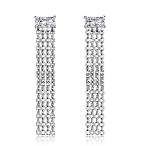 Erica 925 Argent Fashion Simple Tassel Boucles D'oreilles Cadeau Parfait Pour Les Femmes Filles Valentine's Gift