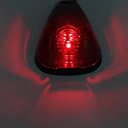 HERCOO Set of 5 Smoke Roof Cab Lens w/ Red LED Lights for Ford F150 F250 F350 F450 F550 Super Duty