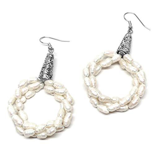 Three Strands Twisted Cultured Freshwater Pearl Big Hoop Earrings ()