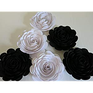 Set of 6 Black and White Paper Roses, 3 Inch Blossoms, Wedding Flowers, Bridal Shower Decor, Tea Party Theme Birthday Decor, Floral Art 43