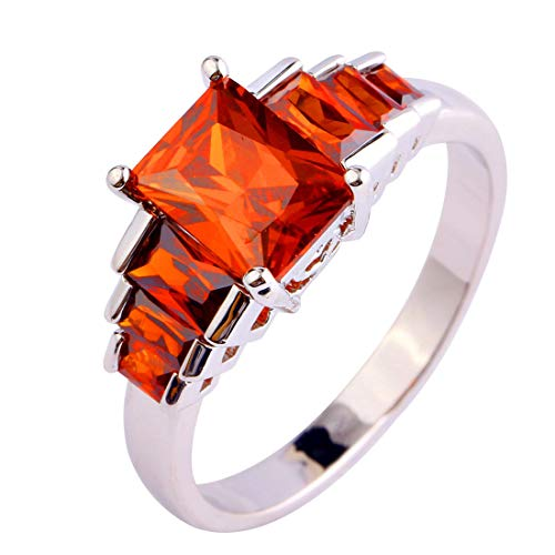 Humasol 925 Sterling Silver Filled Radiant Cut Lab-Created Garnet Promise Band Engagement Ring for Women ()