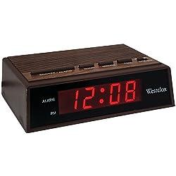 1 - .6 Retro Wood Grain LED Alarm Clock, ¥ÊAlarm with snooze ¥ÊBattery backup ¥ÊWood grain finish, 22690
